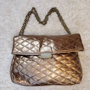 French Connection Quilted Metallic Flap Over Bag